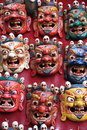 Wooden masks for sale in nepal colourful on kathmandu Royalty Free Stock Photo