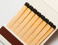 Wooden matches in matchbook Stock Photography