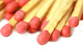 Wooden matches on white background Stock Photos