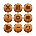 Wooden menu buttons illustration of a set of for web or game design Royalty Free Stock Image