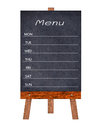 Wooden menu display Sign, Frame restaurant message board, Isolated on white background. Royalty Free Stock Photo