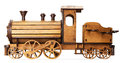 Wooden model of train isolated on the white background Stock Image