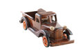 Wooden model of truck carved from woods dark cherry color Stock Image