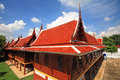 Wooden monk houses in thai temple against blue sky at wat chalerm prakiat Stock Photography