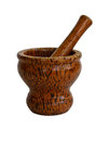 Wooden mortar and pestle isolated on white background Royalty Free Stock Image
