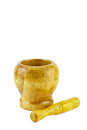 Wooden mortar and pestle isolated on white background Stock Images