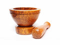 Wooden mortar and pestle isolated on white background Royalty Free Stock Images
