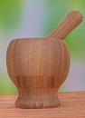 Wooden mortar and pestle large on green background Royalty Free Stock Photos