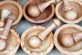 Wooden mortar pestle spices Royalty Free Stock Photo