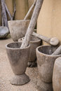 Wooden mortar and pestle traditional from africa Royalty Free Stock Photo