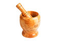 Wooden mortar for pounding spices Stock Photos