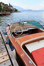Wooden motor boat on alpine lake Stock Images