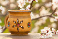 Wooden mug with an ornament in the sunlight on the background a blossoming tree Stock Image