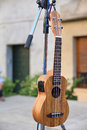 Wooden musical string instrument ukulele before a street concert. Royalty Free Stock Photo