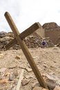 Wooden old christian religious cross at the Lipez ruins in Boliv Royalty Free Stock Photo