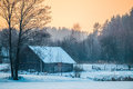 Wooden old house in winter Royalty Free Stock Photo