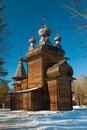 Wooden orthodox church in wood Stock Photography