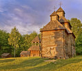 Wooden Orthodox church in the woods  Royalty Free Stock Photography