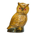 Wooden owl carved on a white background Royalty Free Stock Images