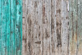 Wooden Palisade background. Close up of grey and green wood old fence panels texture Royalty Free Stock Photo