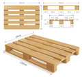 Wooden pallet in perspective front and side view with dimensions Stock Images