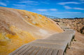 Wooden path in geothermal field Royalty Free Stock Photography