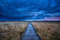 Wooden path through swamp during storm at sunset Stock Photo