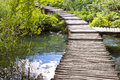 Wooden pathway - Plitvice lakes, Croatia. Royalty Free Stock Photos