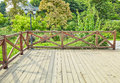 wooden deck wood backyard outdoor patio garden landscaping Royalty Free Stock Photo