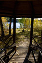 Wooden pavilion in the autumn garden Stock Photography