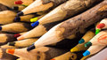 Wooden pencil a closeup of handcrafted colorful pencils Royalty Free Stock Photography