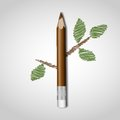 Wooden pencil with leaf vector illustration eps Royalty Free Stock Image