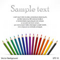 Wooden pencils on sheet many colored white vector illustration Stock Photography