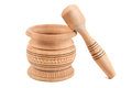 Wooden pestle and mortar on white background Royalty Free Stock Image
