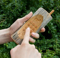 Wooden phone 01 Royalty Free Stock Photo