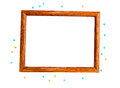 Wooden photo frame and beads Royalty Free Stock Photo