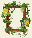Wooden photo frame with grapes vector illustration Stock Photography
