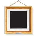 Wooden photo frame on the wall vector illustration modern Royalty Free Stock Photography