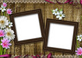 Wooden photo frames over grunge wood background Royalty Free Stock Photo