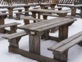 Wooden picnic bench and table Stock Photography