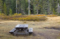 Wooden Picnic Table in Autumn Foliage Stock Photos