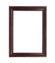 Wooden picture black frame isolated on white background Royalty Free Stock Photo