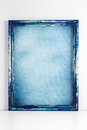 Wooden picture frame blue grunge Royalty Free Stock Photo