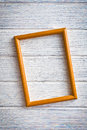 Wooden picture frame on old wooden background Royalty Free Stock Photography