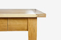 Wooden piece furniture edge table front white blackground Stock Image