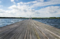 Wooden pier in Almere Royalty Free Stock Photo