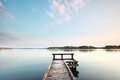 Wooden pier on big lake Royalty Free Stock Photo