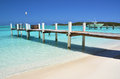 Wooden pier exuma bahamas a exumas Royalty Free Stock Photo