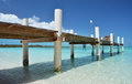 Wooden pier exuma bahamas island Royalty Free Stock Photos