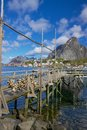 Wooden pier in fjord Royalty Free Stock Photo